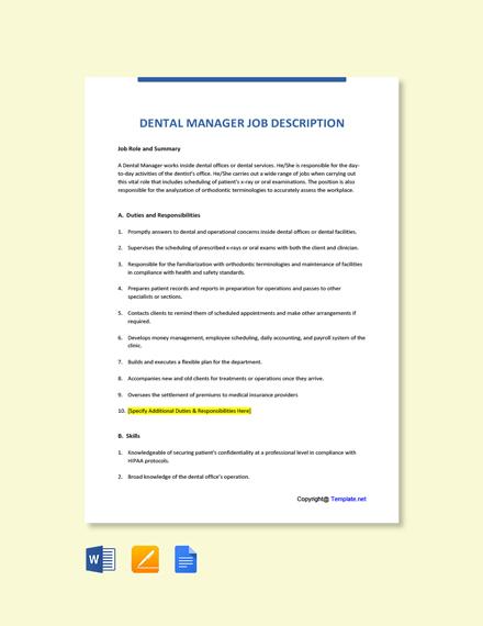 Free Dental Manager Job Description Template