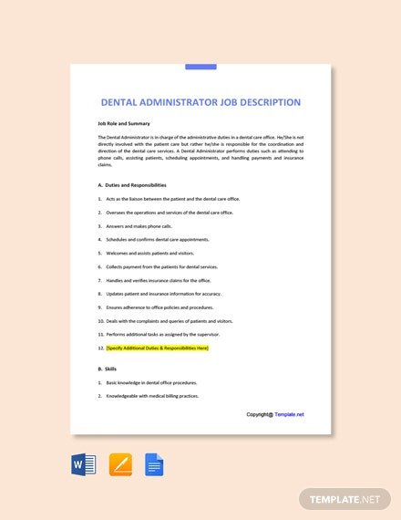 Free Dental Administrator Job Ad and Description Template