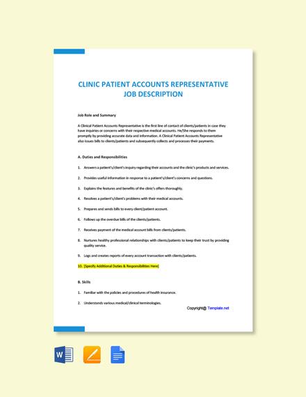 Free Clinic Patient Accounts Representative Job Ad and Description Template