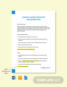 Clinical Coding Specialist Job Ad and Description Template