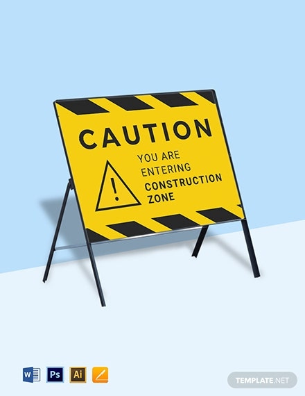 Construction Zone Sign Template