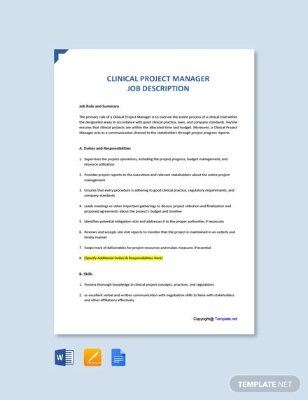 Free Clinical Project Manager Job Ad/Description Template
