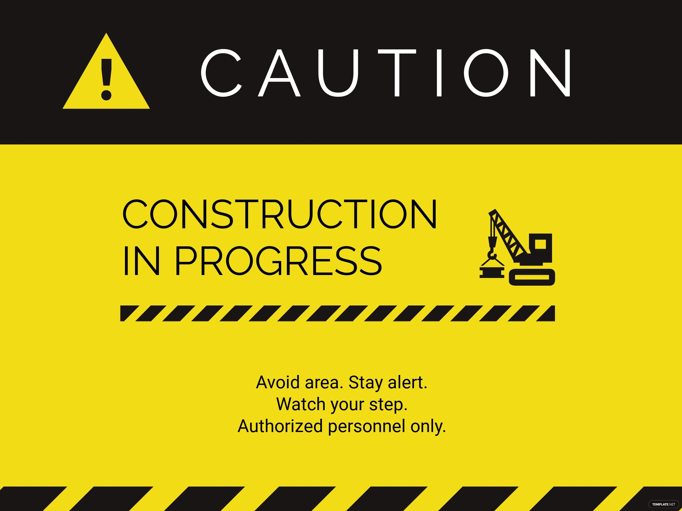 Construction Work in Progress Sign Template