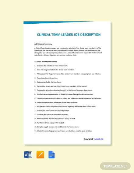 Free Clinical Team Leader Job Ad and Description Template