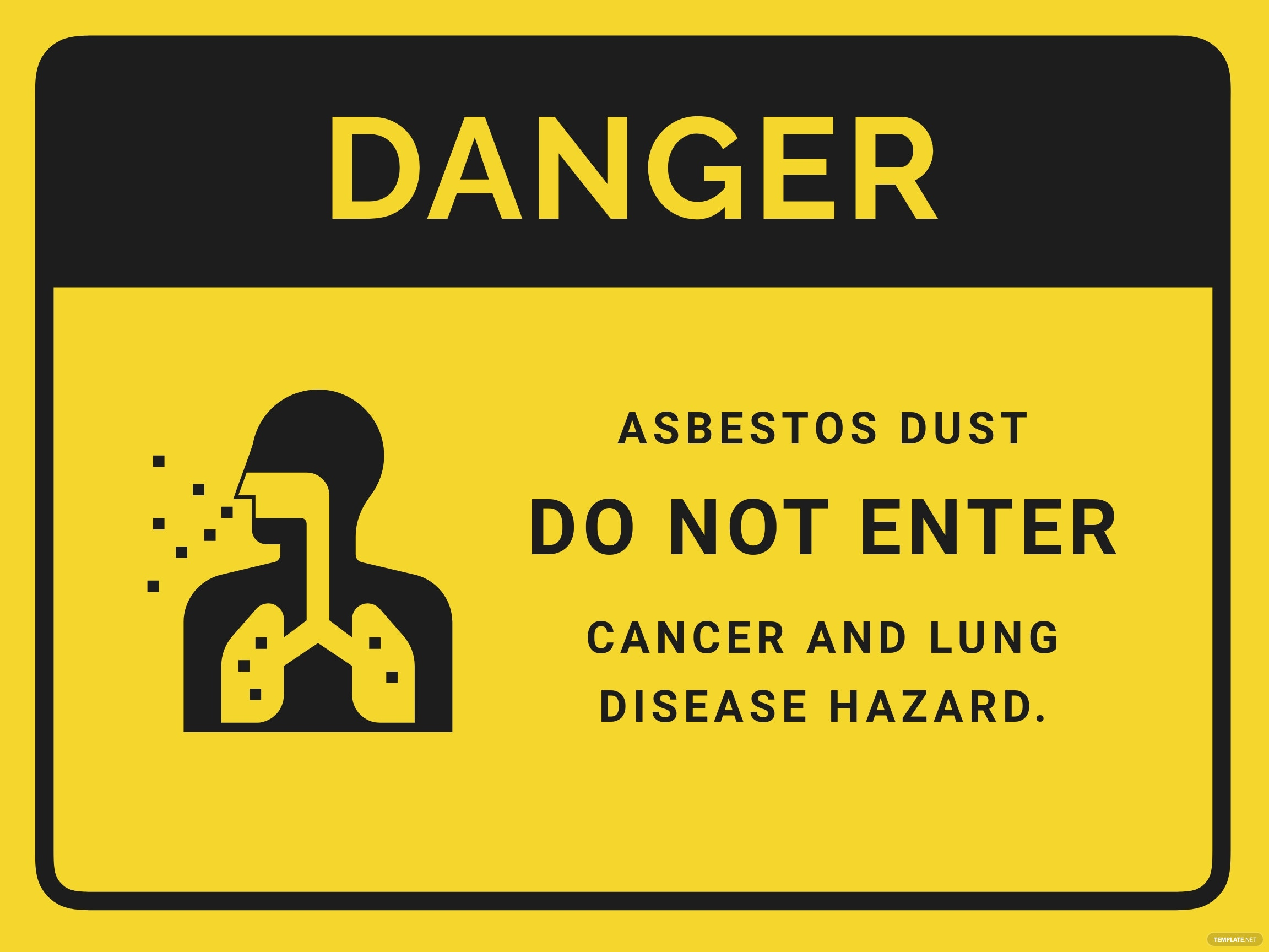 Asbestos Dust - Do Not Enter Sign Template
