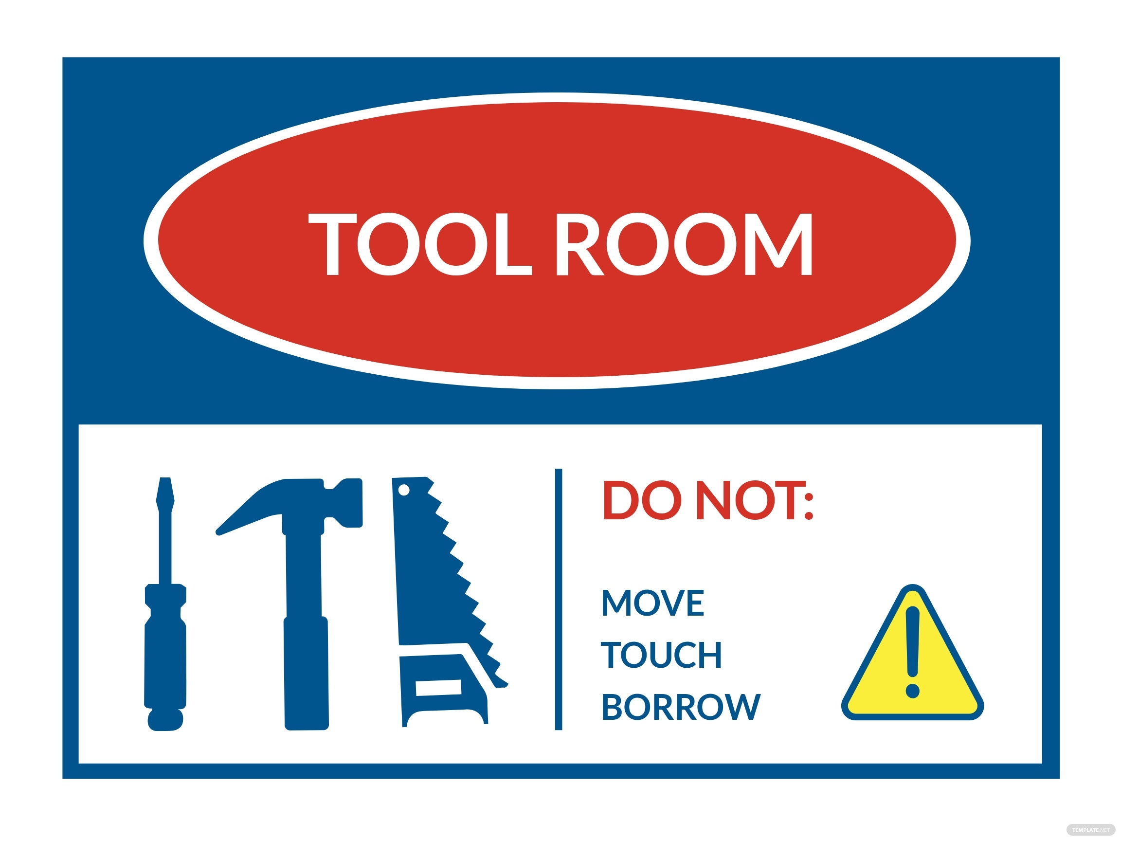 Tool Room Sign Template
