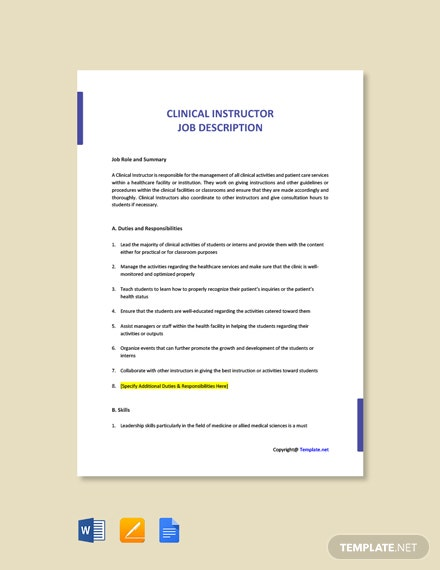 Free Clinical Instructor Job Description Template
