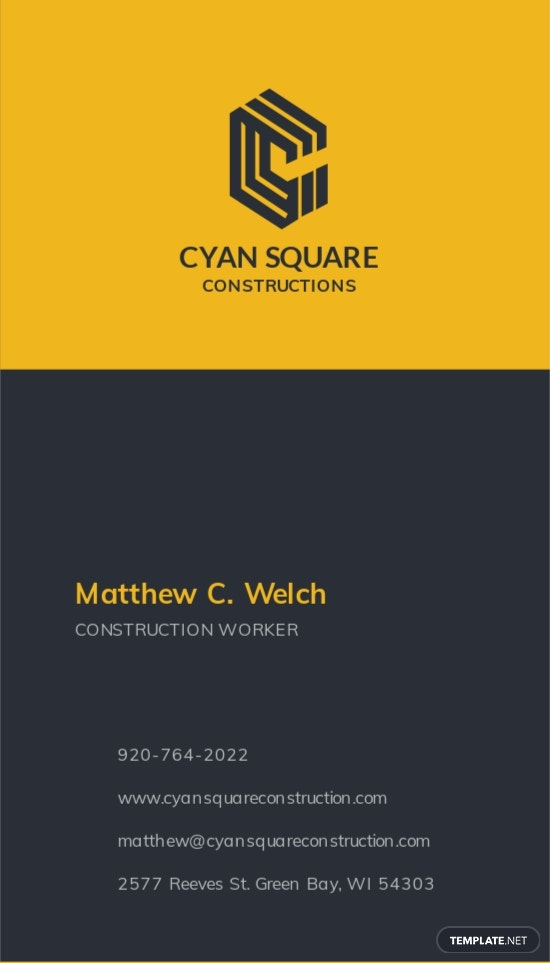 Commercial Construction Worker Business Card Template 1.jpe