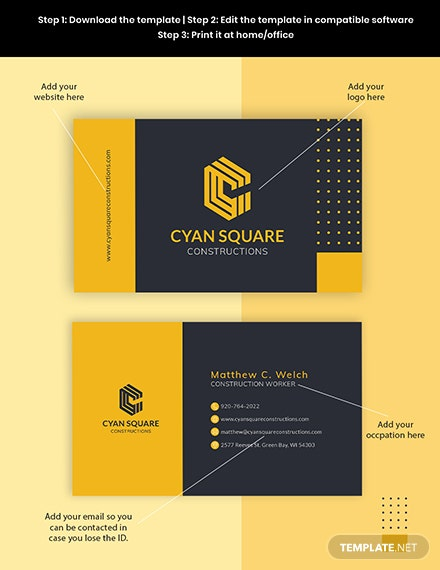 Construction Worker Business Card Template Format