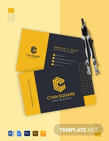 Commercial Construction Worker Business Card Template