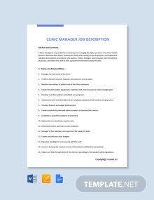 Free Clinic Manager Job Ad and Description Template