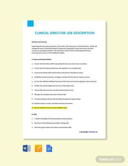 Free Clinical Director Job Description Template