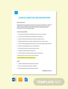 Free Clinical Director Job Ad and Description Template