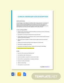 Free Clinical Manager Job Ad and Description Template