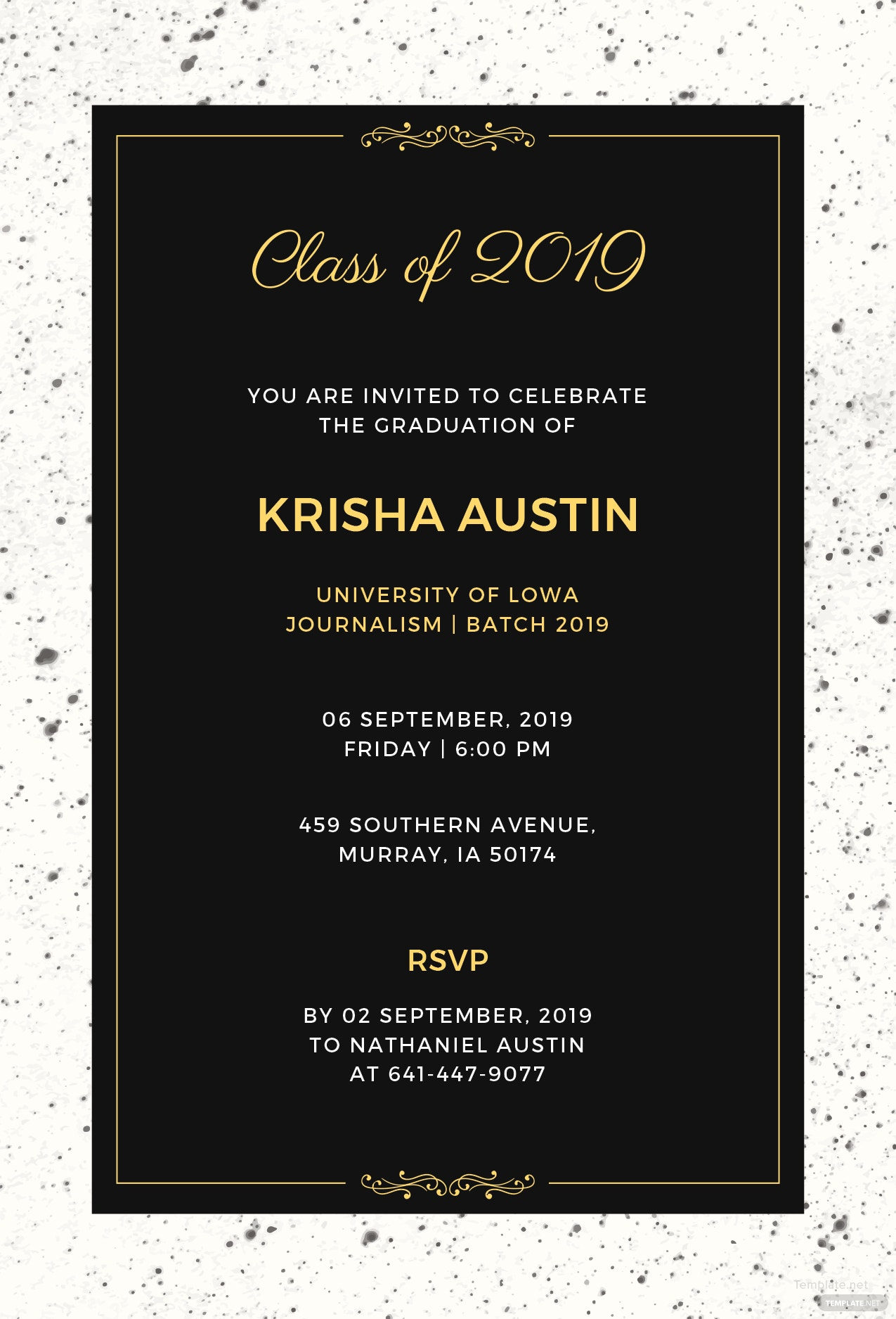 free graduation announcement invitation template in