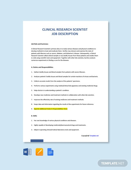 Free Clinical Research Scientist Job Ad and Description Template