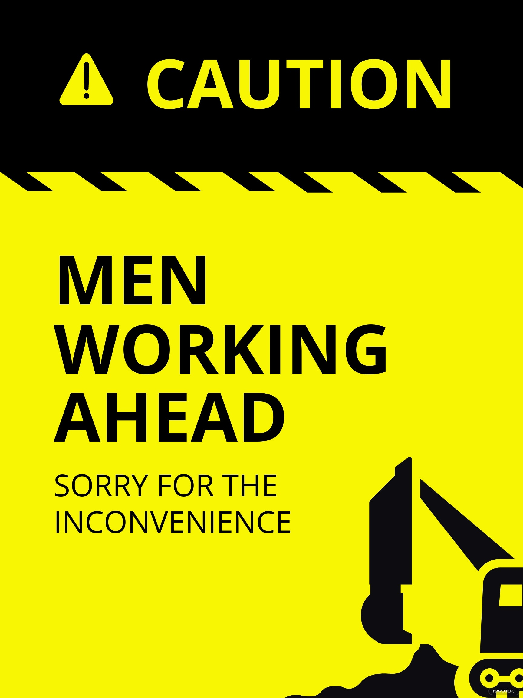 Caution Workers Ahead Sign Template