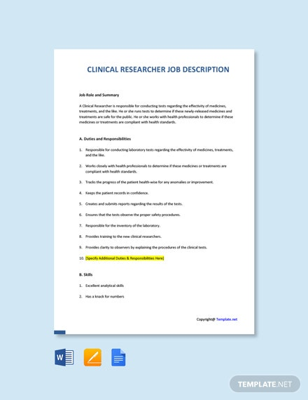 Free Clinical Researcher Job Ad and Description Template