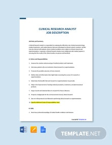 Free Clinical Research Analyst Job Ad and Description Template