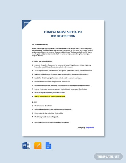 Free Clinical Nurse Specialist Job Description Template