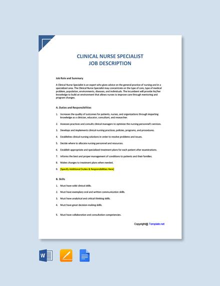 Free Clinical Nurse Specialist Job Ad and Description Template