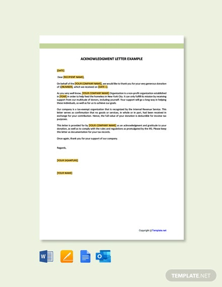 Free Acknowledgement Letter Example