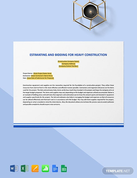 Estimating and Bidding for Heavy Construction Template