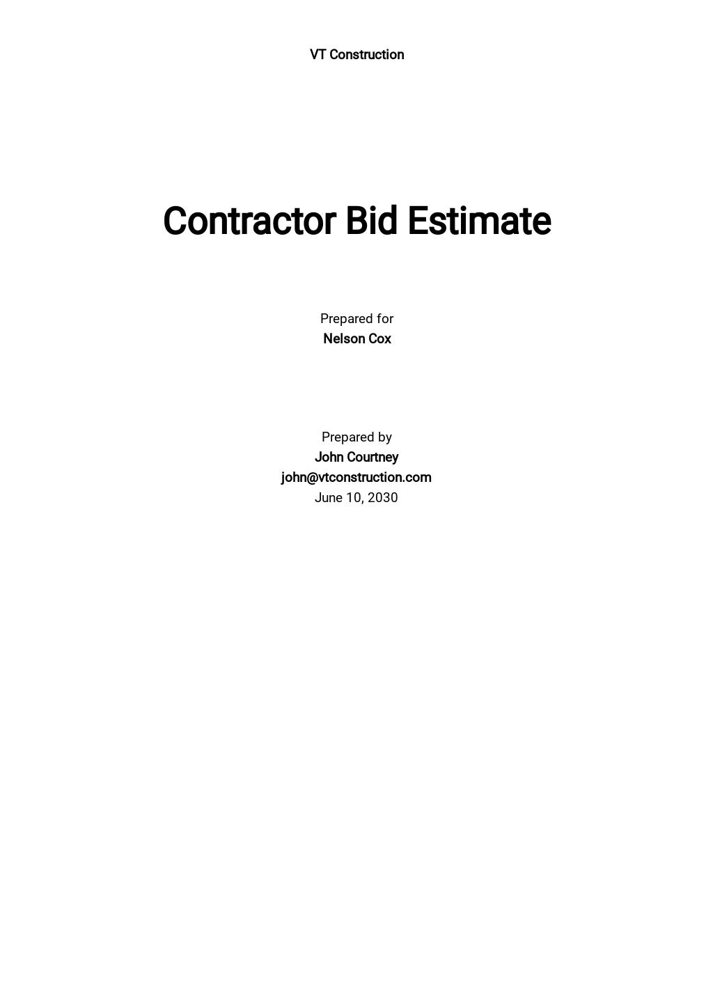 Free Contractor Bid Estimate Template.jpe