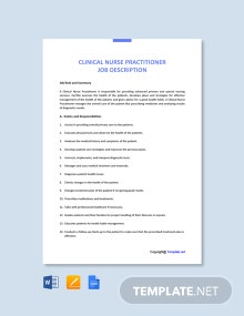 Free Clinical Nurse Practitioner Job Ad and Description Template