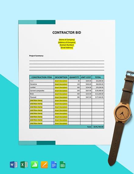 Free Contractor Bid Template