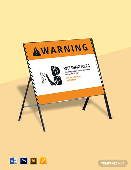 Caution Arc Welding Sign Template