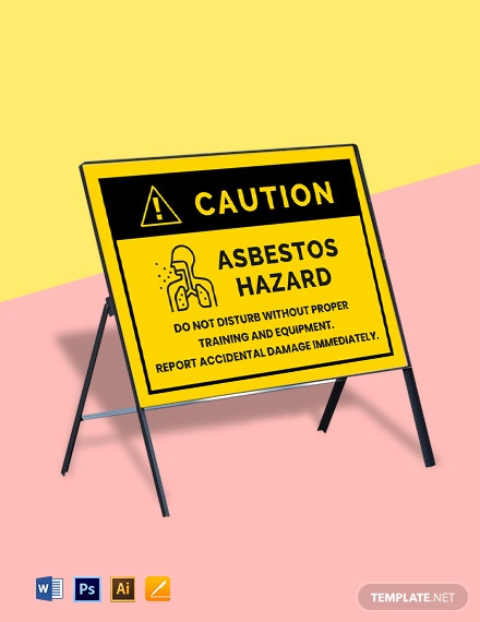 Danger Asbestos Do Not Disturb Material - Health and Safety Sign Template