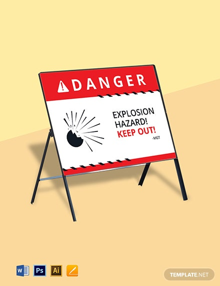 Danger Explosive Sign Template