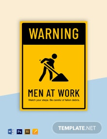 Warning Men at Work Sign Template