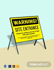 Warning Site Entrance Sign Template