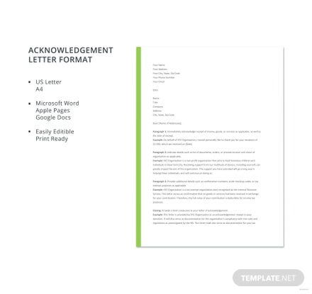 Free Acknowledgement Letter Format