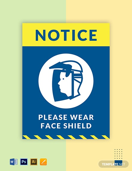 Wear Face Shield Sign Template