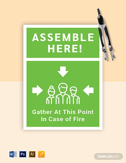 Fire assembly point Sign Template