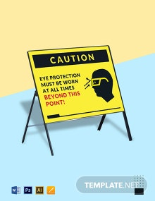 Eye Protection Must be Worn Sign Template