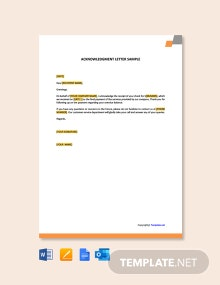 Free Acknowledgement Letter Sample