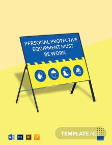 Personal Protective Equipment Must be Worn Sign Template
