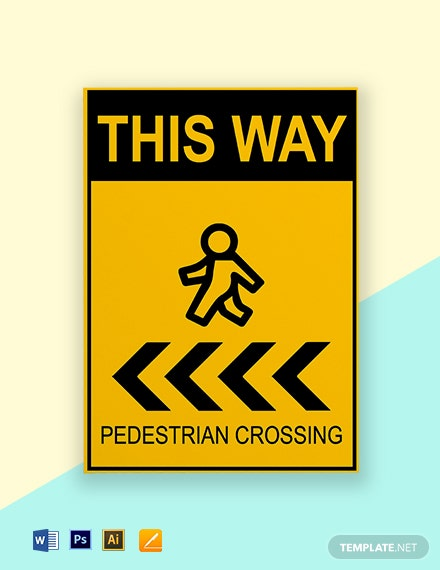 Pedestrian Arrow Sign Template