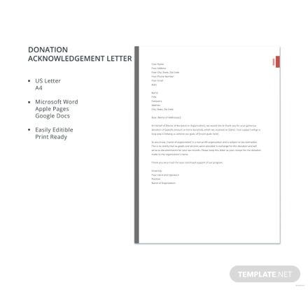 Free Donation Acknowledgement Letter Template