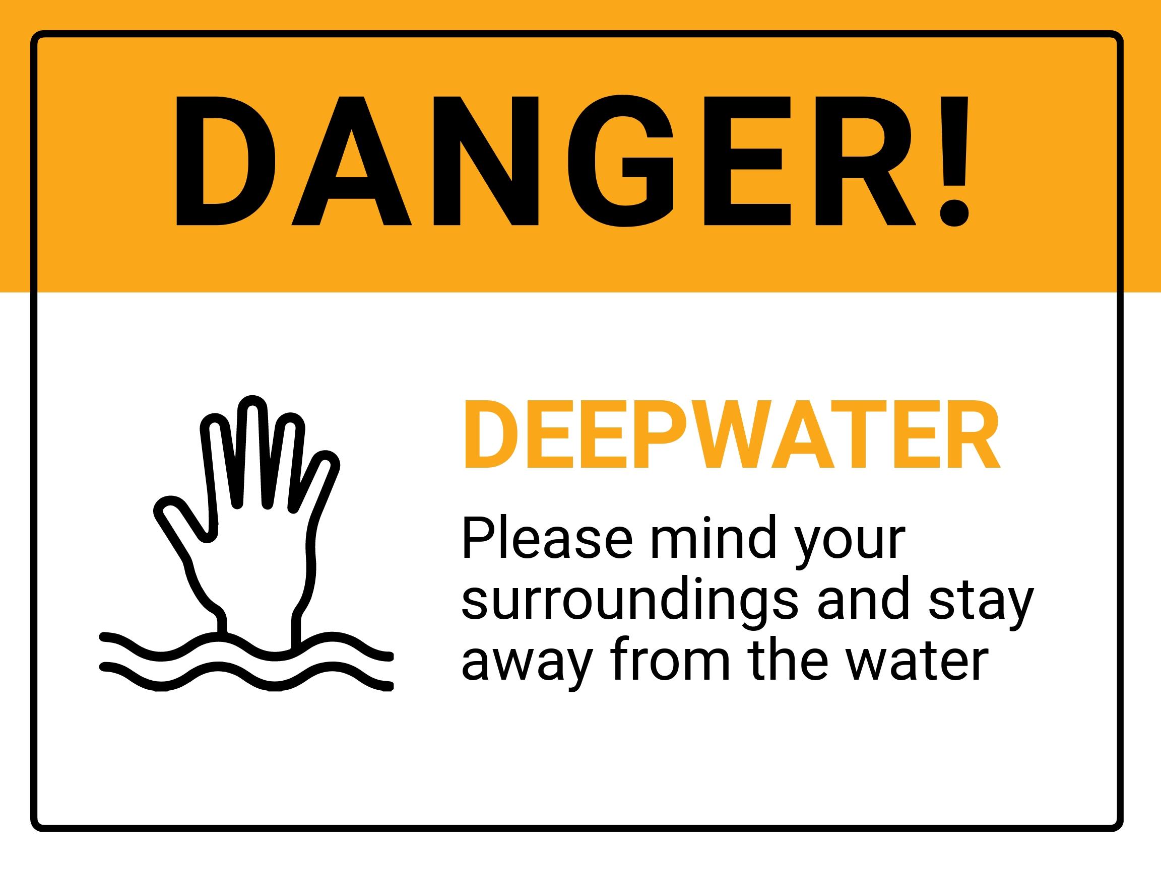 Danger Deep Water Sign Template