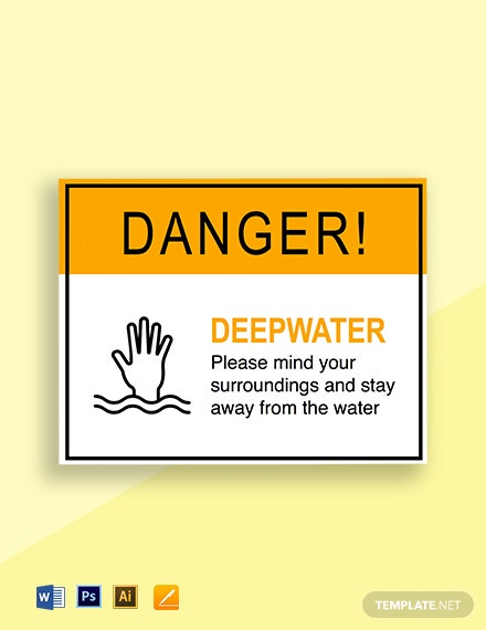 Danger Deep Water Sign Template