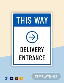 Delivery Entrance Sign Template