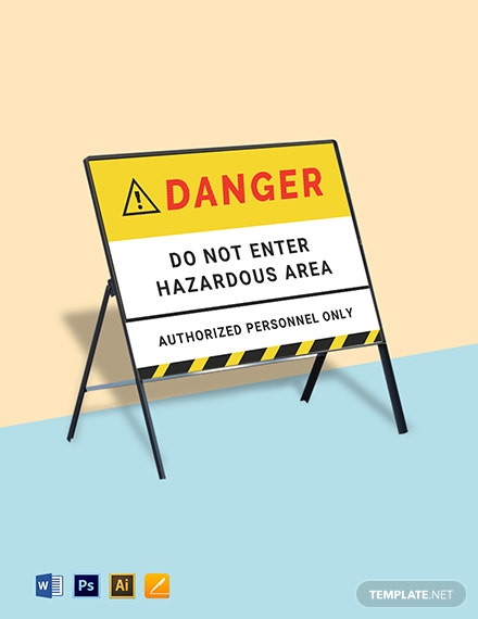 Danger Hazard Area Do Not Enter Stanchion Sign Template