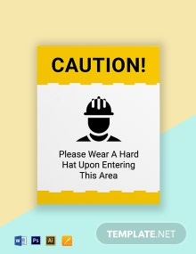 Caution - Hard Hats Required In This Area Sign Template