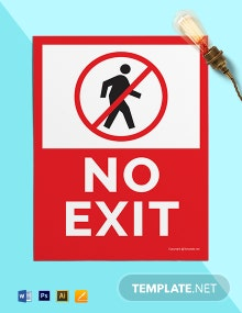 Free No Exit Sign Template