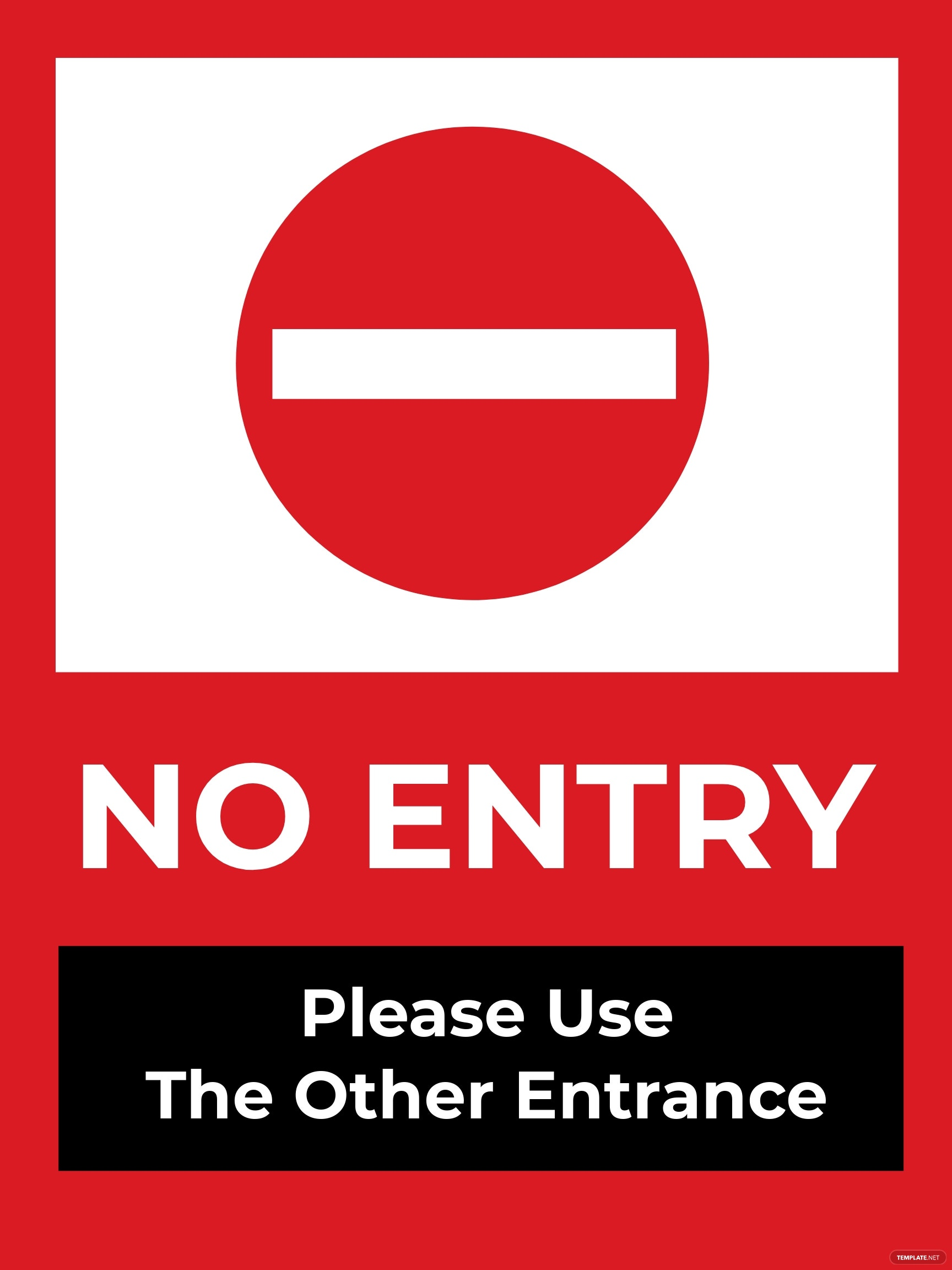No Entry Sign Template